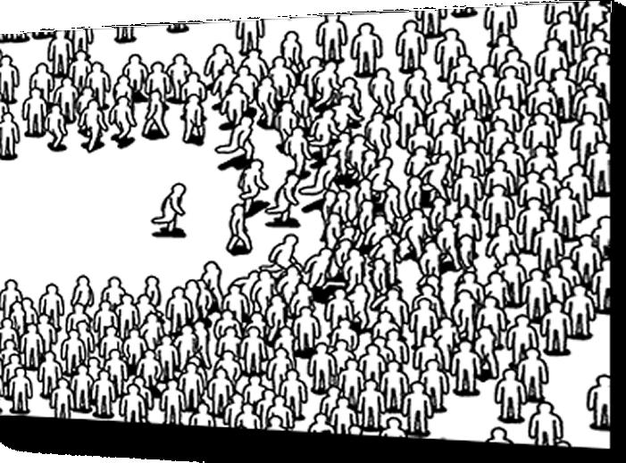 Cartoon image of crowd running