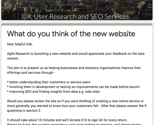 Introductory page of web survey investigating how the new website was perceived